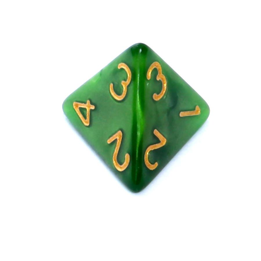 Kość REBEL perłowa 4 Ściany - Cyfry - Zielona