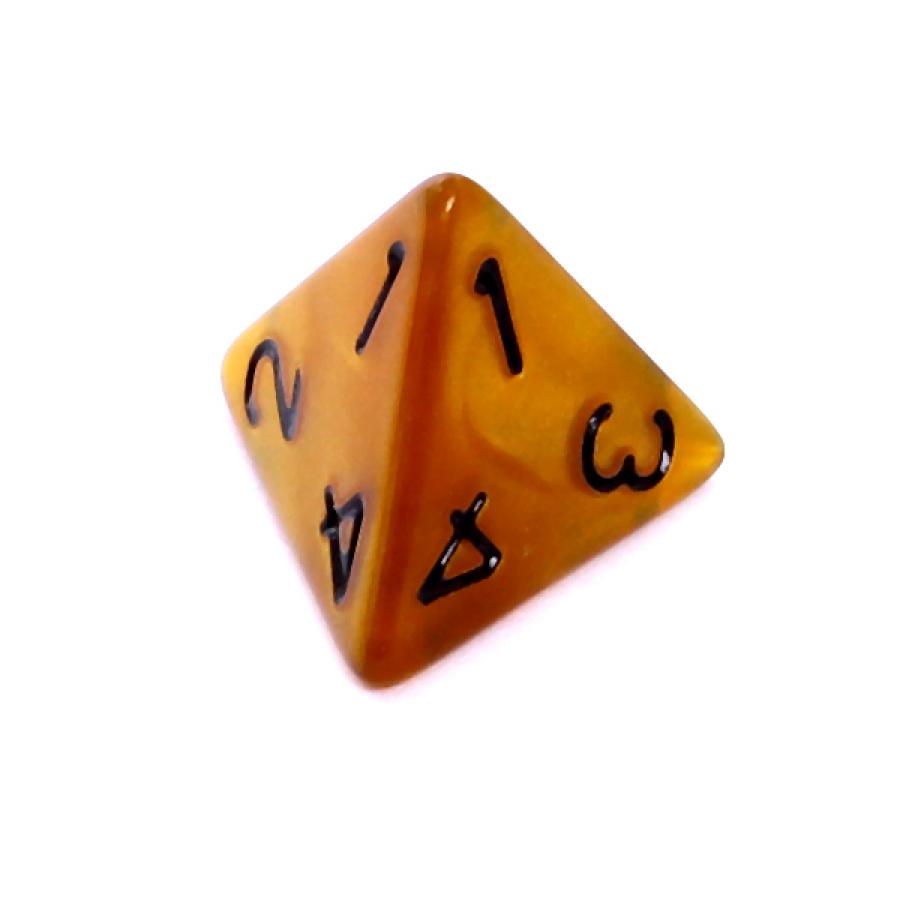 Kość REBEL perłowa 4 Ściany - Cyfry - Ciemnożółta (czarne cyfry)
