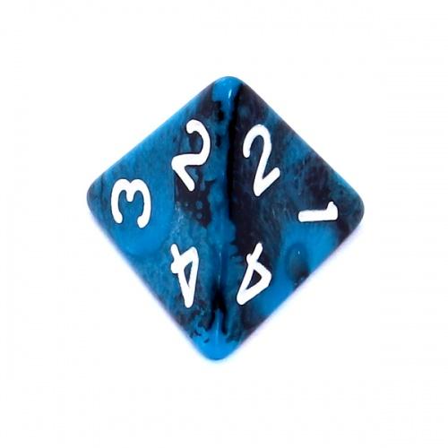 Kość REBEL dwukolorowa 4 Ściany - Cyfry - Czarno-niebieska