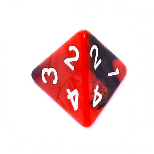 Kość REBEL dwukolorowa 4 Ściany - Cyfry - Czerwono-czarna