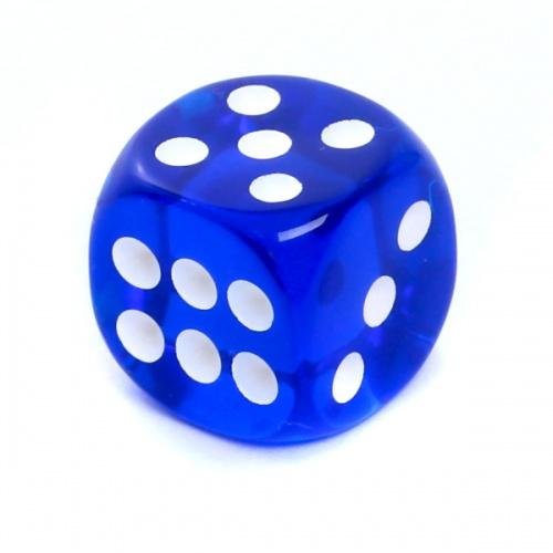 Kość REBEL kryształowa 6 Ścian - 16 mm - Oczka - Niebieska