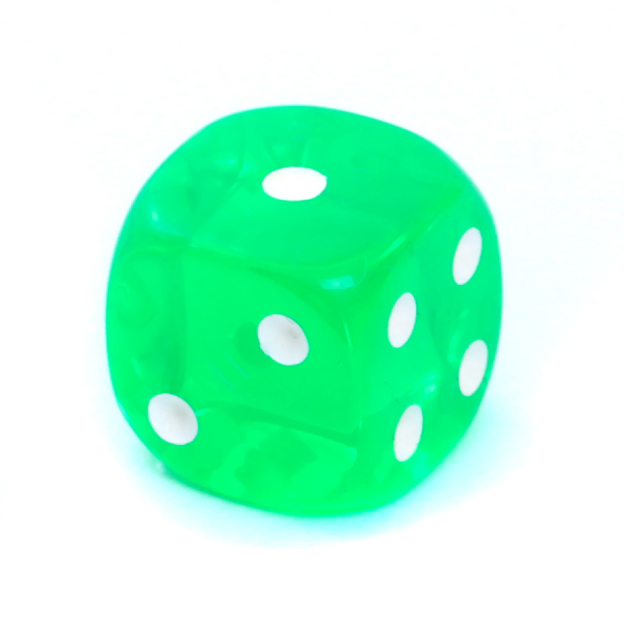 Kość REBEL kryształowa 6 Ścian - 16 mm - Oczka - Zielona