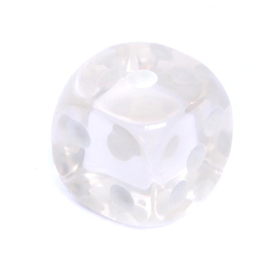 Kość REBEL kryształowa 6 Ścian - 16 mm - Oczka - Biała