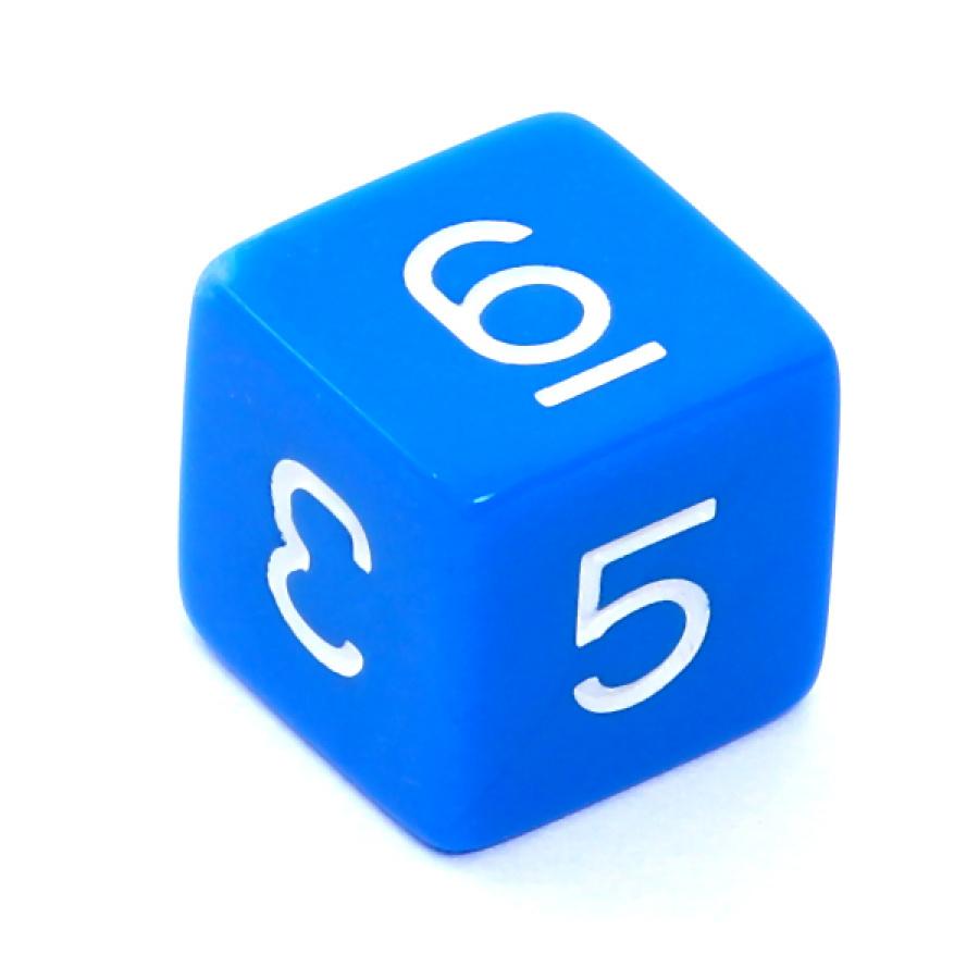 Kość REBEL matowa 6 Ścian - Cyfry - Niebieska