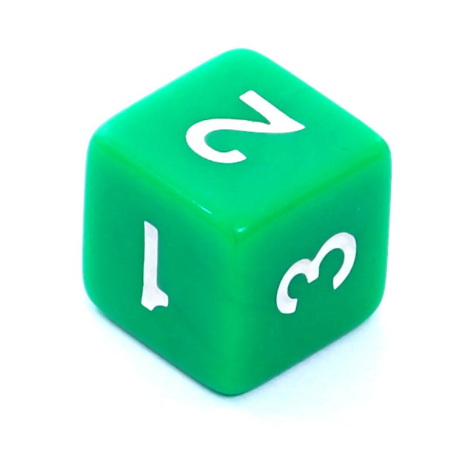Kość REBEL matowa 6 Ścian - Cyfry - Zielona