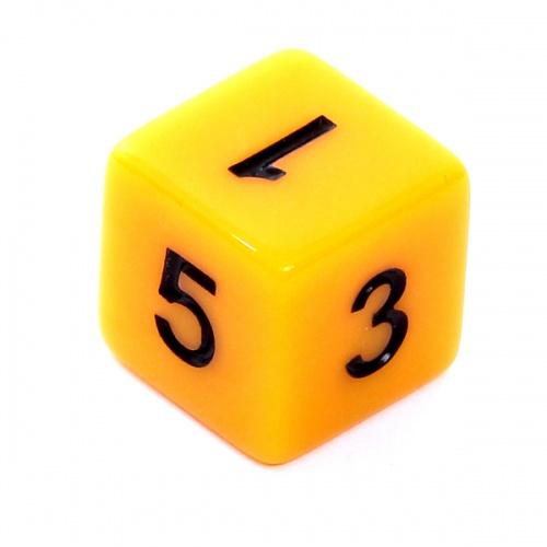Kość REBEL matowa 6 Ścian - Cyfry - Żółta