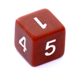 Kość REBEL matowa 6 Ścian - Cyfry - Brązowa