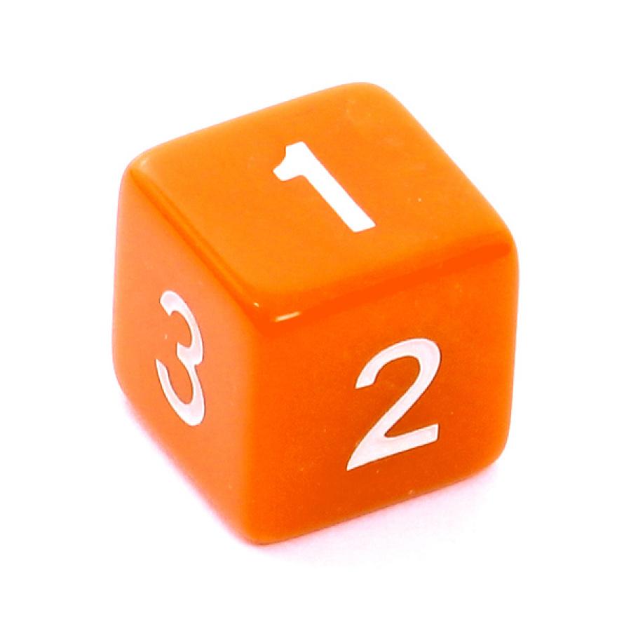 Kość REBEL matowa 6 Ścian - Cyfry - Pomarańczowa