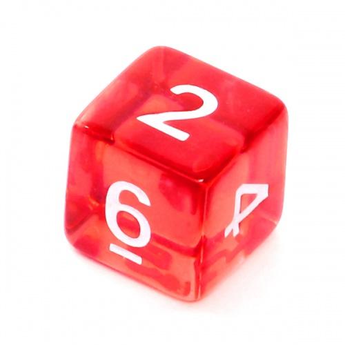 Kość REBEL kryształowa 6 Ścian - Cyfry - Czerwona