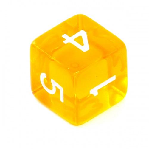 Kość REBEL kryształowa 6 Ścian - Cyfry - Żółta