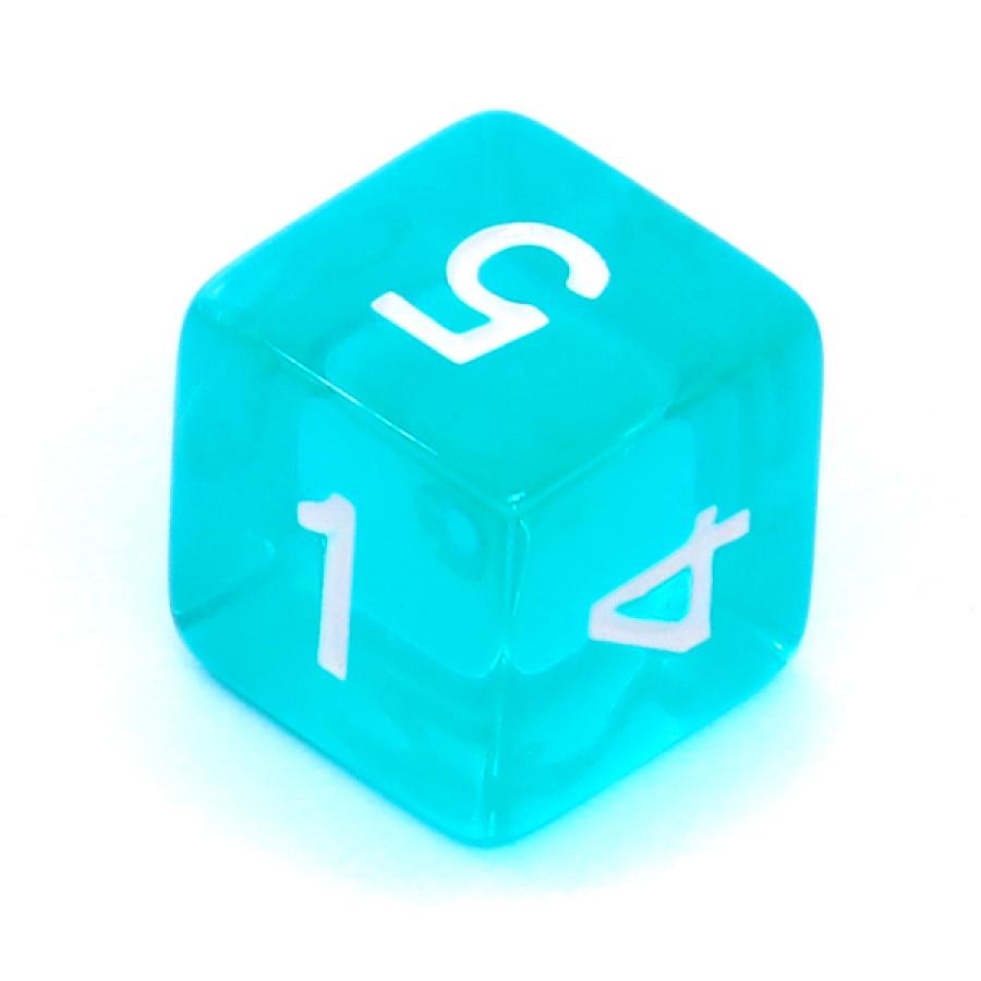 Kość REBEL kryształowa 6 Ścian - Cyfry - Błękitna