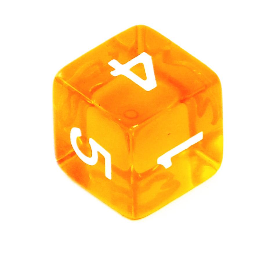 Kość REBEL kryształowa 6 Ścian - Cyfry - Pomarańczowa