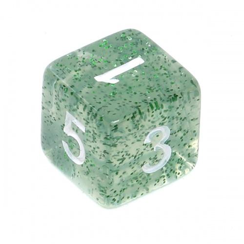 Kość REBEL brokatowa 6 Ścian - Cyfry - Zielona