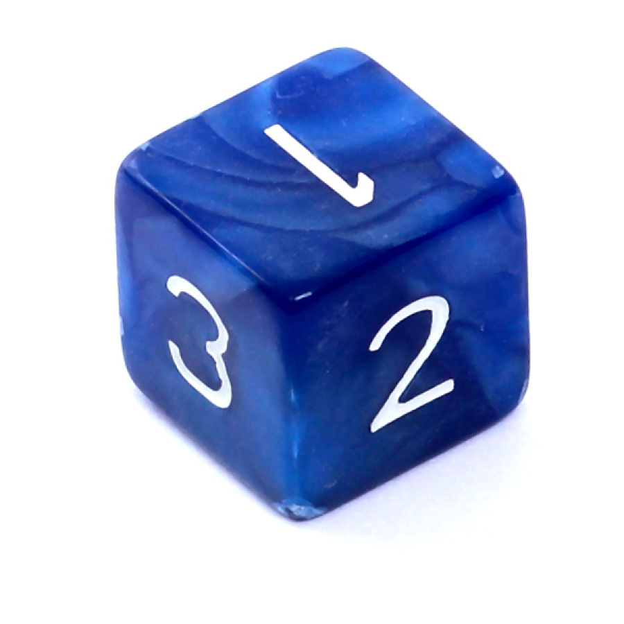 Kość REBEL perłowa 6 Ścian - Cyfry - Ciemnoniebieska