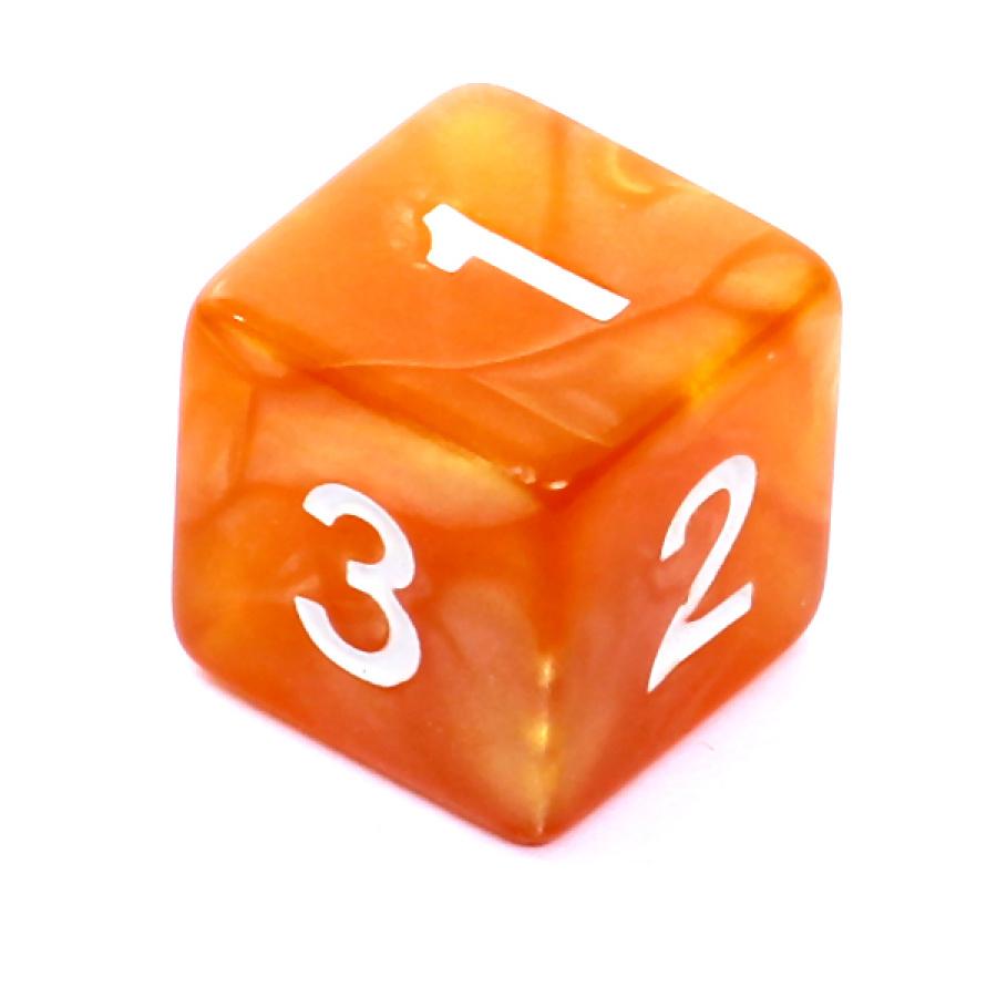 Kość REBEL perłowa 6 Ścian - Cyfry - Ciemnożółta (białe cyfry)