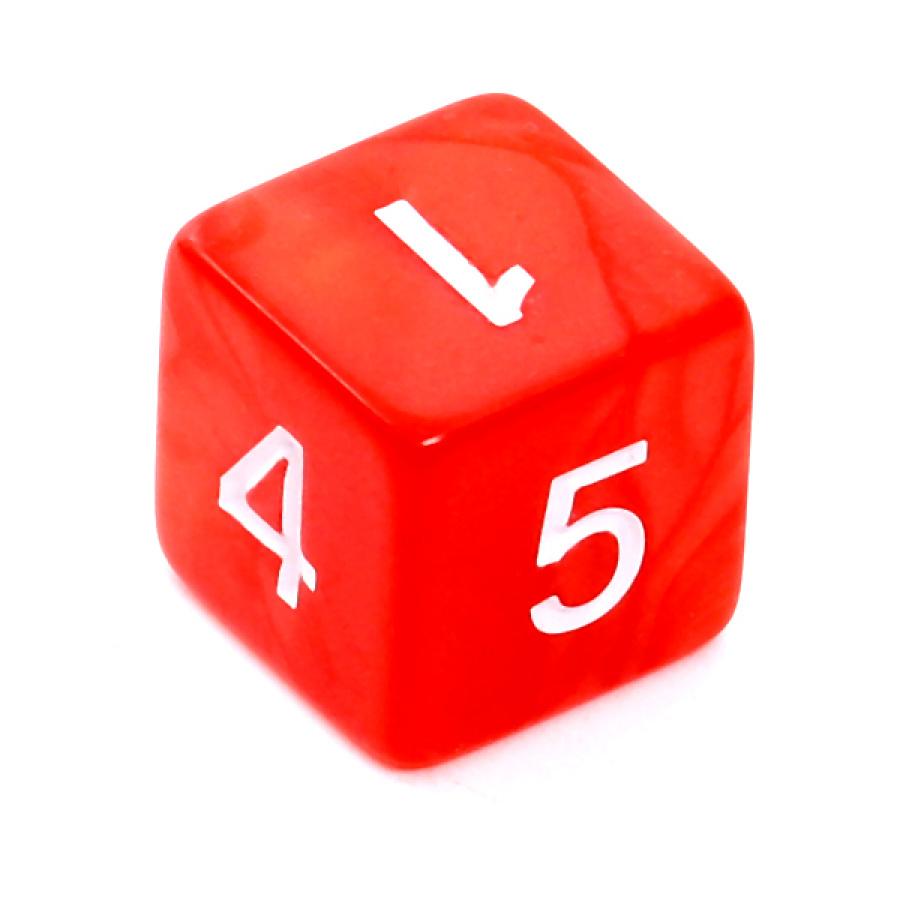 Kość REBEL perłowa 6 Ścian - Cyfry - Czerwona