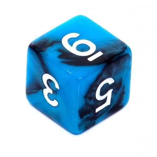 Kość REBEL dwukolorowa 6 Ścian - Cyfry - Czarno-niebieska