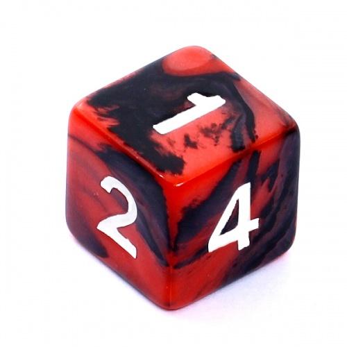 Kość REBEL dwukolorowa 6 Ścian - Cyfry - Czerwono-czarna