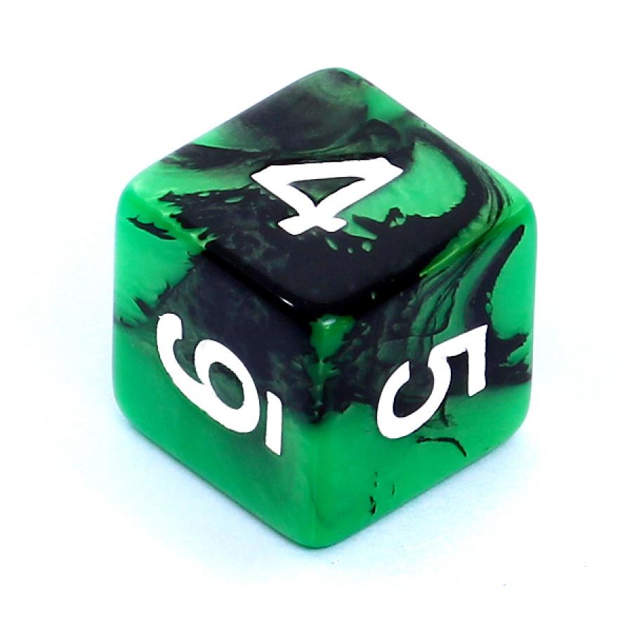 Kość REBEL dwukolorowa 6 Ścian - Cyfry - Zielono-czarna