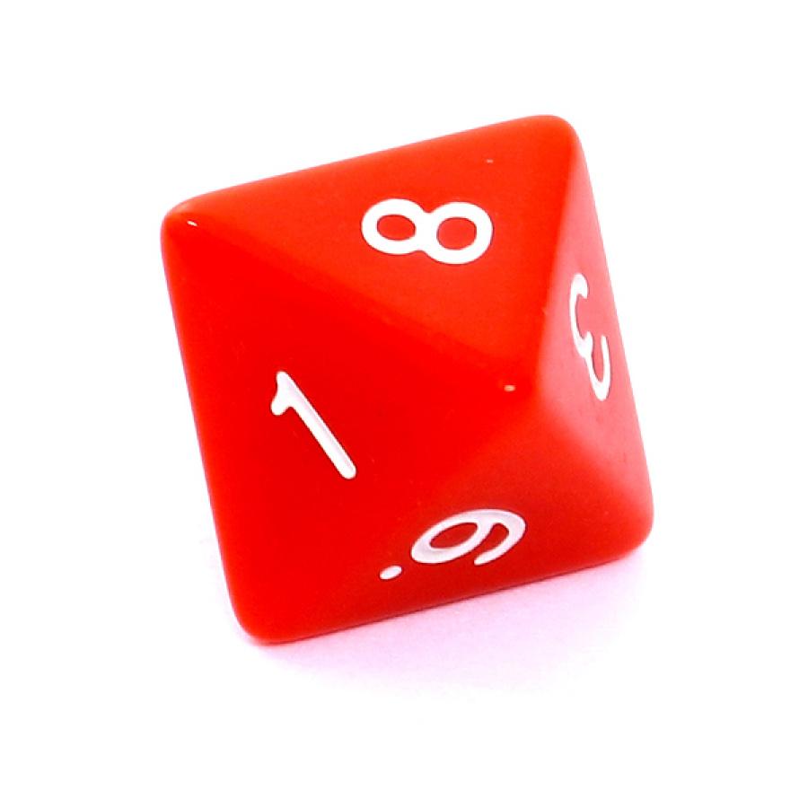 Kość REBEL matowa 8 Ścian - Cyfry - Czerwona