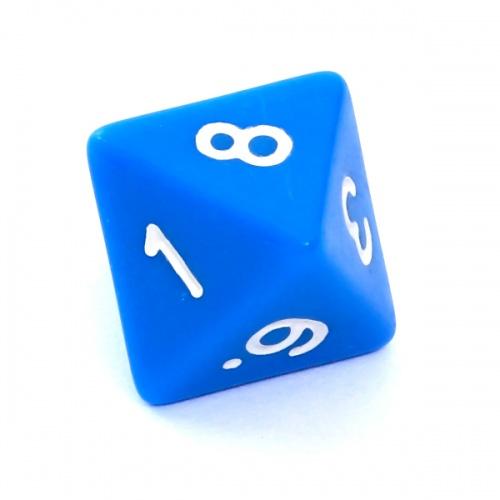 Kość REBEL matowa 8 Ścian - Cyfry - Niebieska