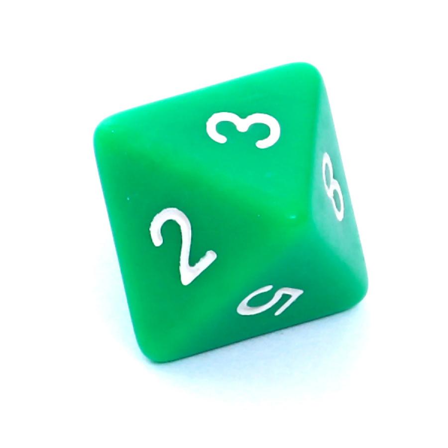 Kość REBEL matowa 8 Ścian - Cyfry - Zielona
