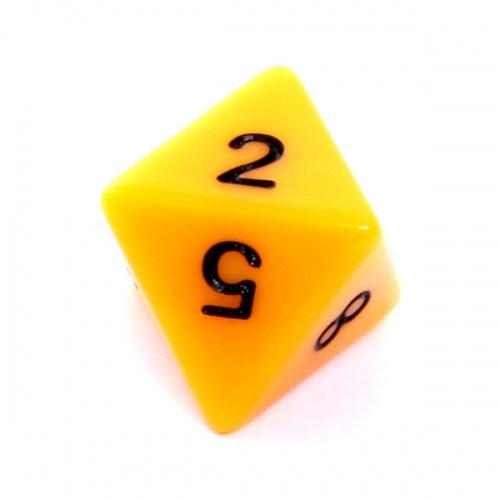 Kość REBEL matowa 8 Ścian - Cyfry - Żółta
