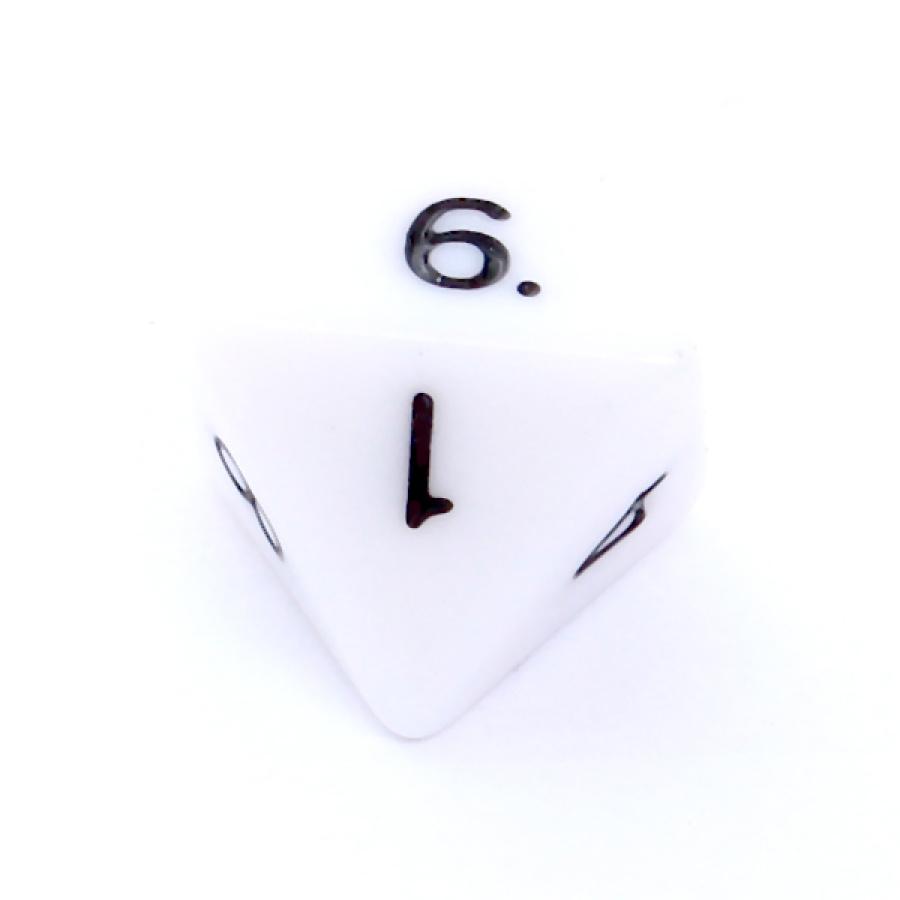Kość REBEL matowa 8 Ścian - Cyfry - Biała