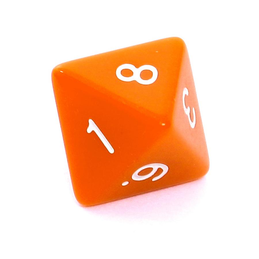 Kość REBEL matowa 8 Ścian - Cyfry - Pomarańczowa