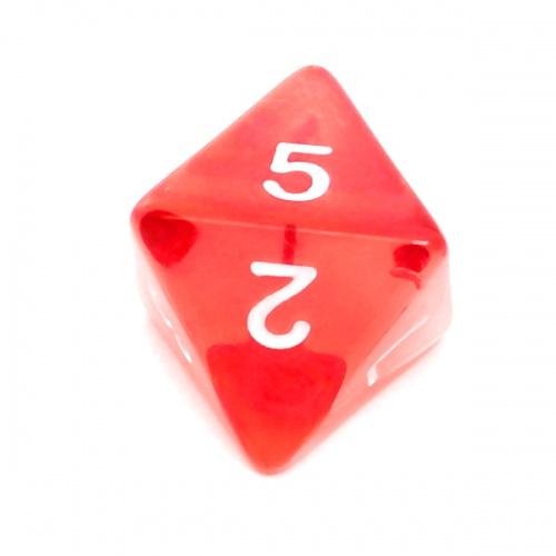 Kość REBEL kryształowa 8 Ścian - Cyfry - Czerwona