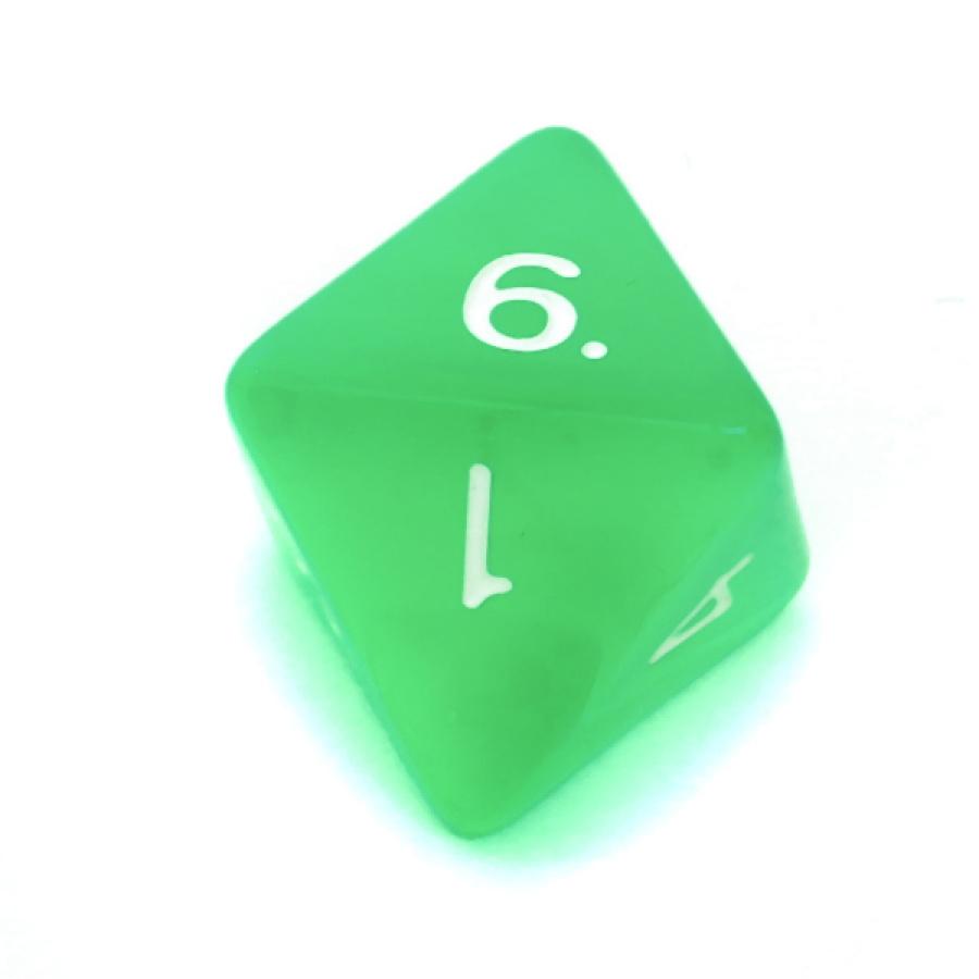Kość REBEL kryształowa 8 Ścian - Cyfry - Jasnozielona