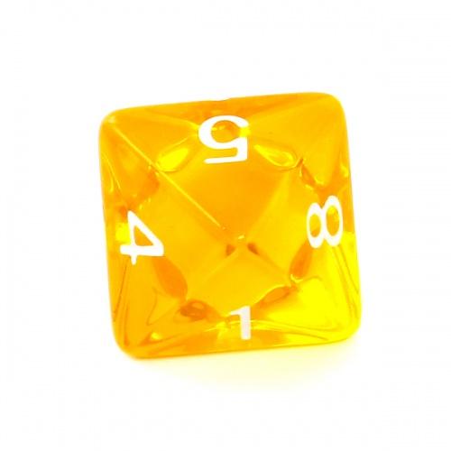 Kość REBEL kryształowa 8 Ścian - Cyfry - Żółta