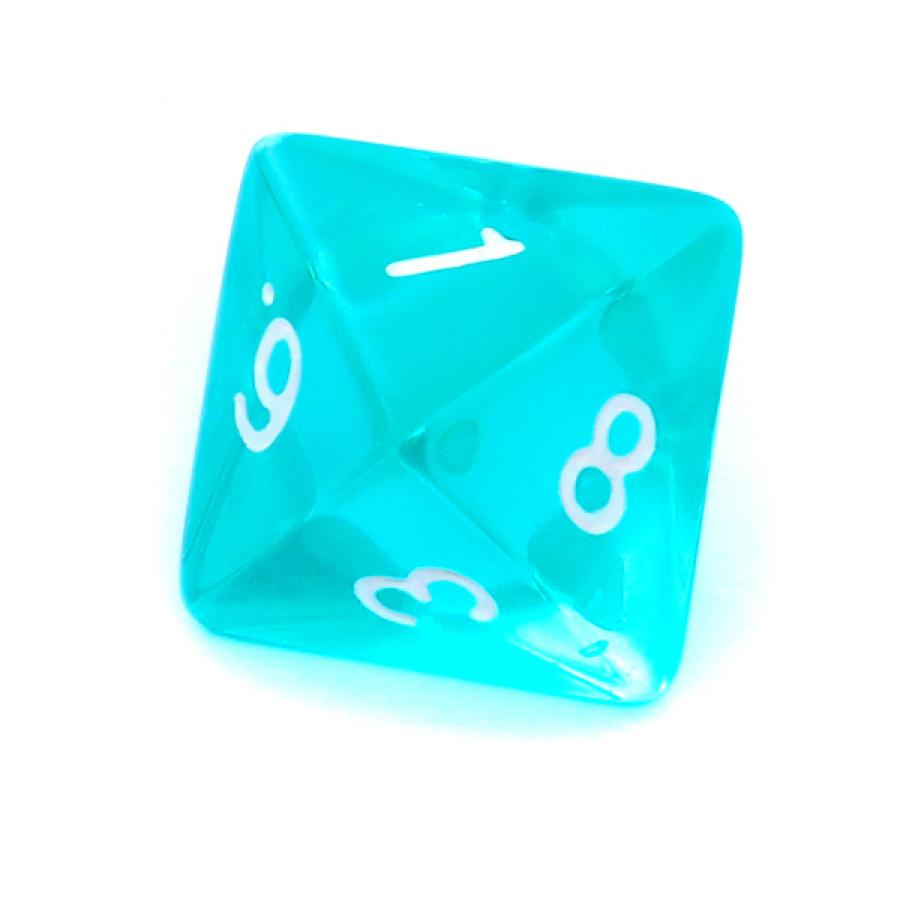 Kość REBEL kryształowa 8 Ścian - Cyfry - Błękitna