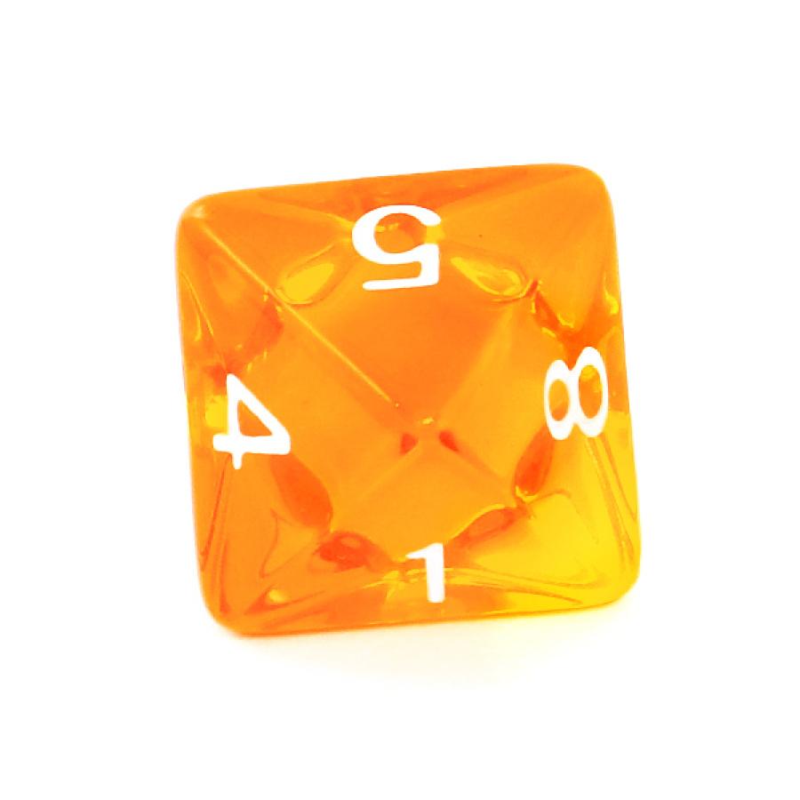 Kość REBEL kryształowa 8 Ścian - Cyfry - Pomarańczowa