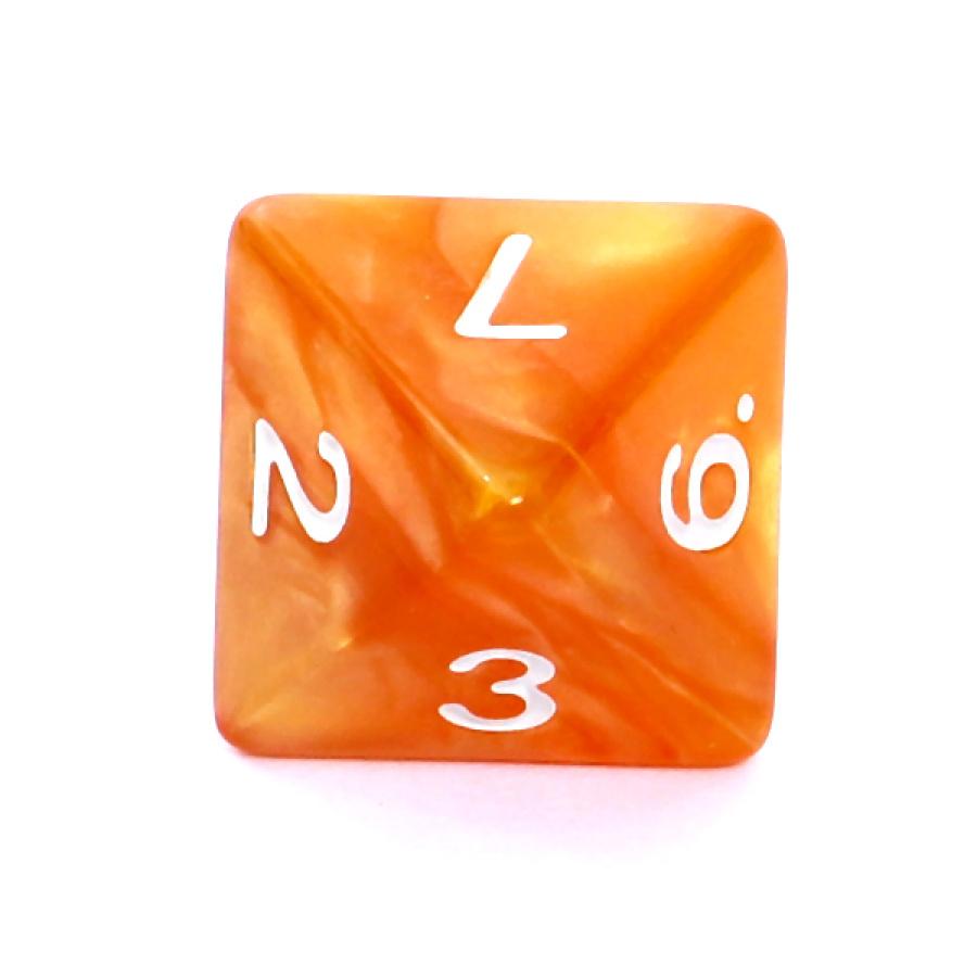 Kość REBEL perłowa 8 Ścian - Cyfry - Ciemnożółta (białe cyfry)