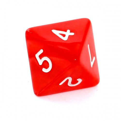 Kość REBEL perłowa 8 Ścian - Cyfry - Czerwona