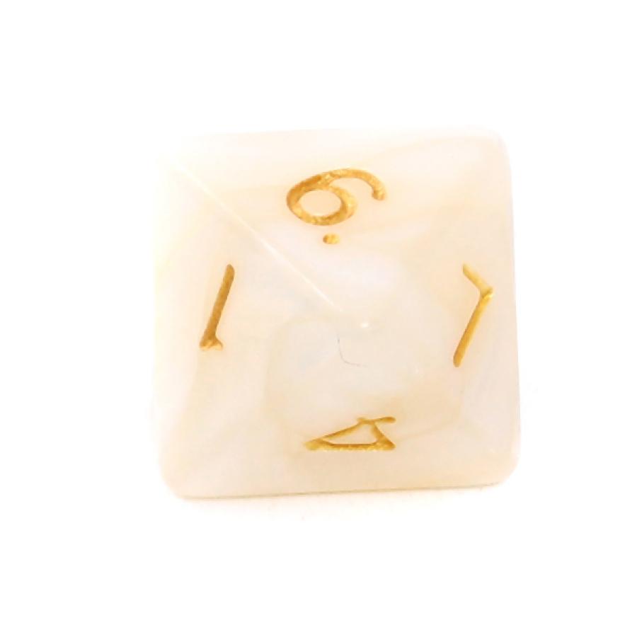 Kość REBEL perłowa 8 Ścian - Cyfry - Biała