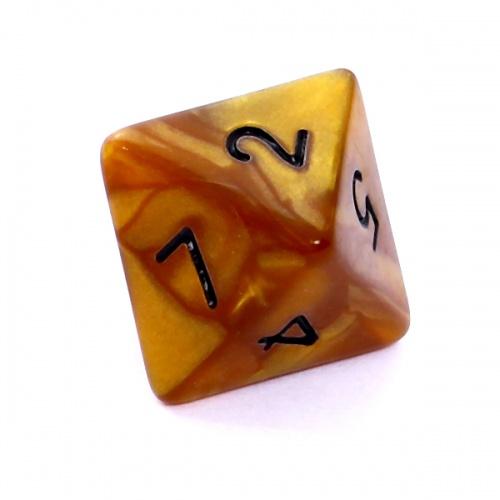 Kość REBEL perłowa 8 Ścian - Cyfry - Ciemnożółta (czarne cyfry)
