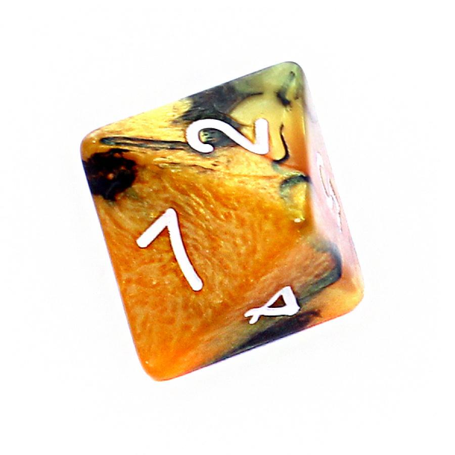 Kość REBEL dwukolorowa 8 Ścian - Cyfry - Czarno-złota