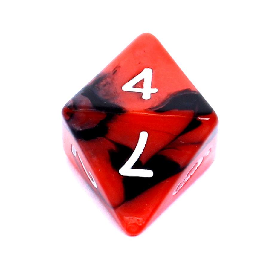 Kość REBEL dwukolorowa 8 Ścian - Cyfry - Czerwono-czarna