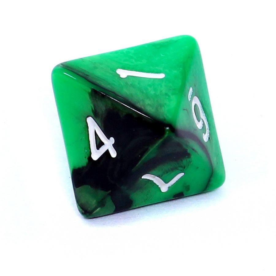 Kość REBEL dwukolorowa 8 Ścian - Cyfry Białe - Zielono-czarna