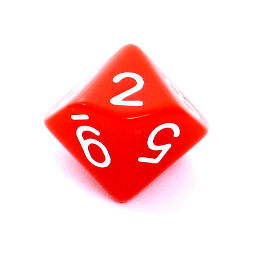 Kość REBEL matowa 10 Ścian - Cyfry - Czerwona