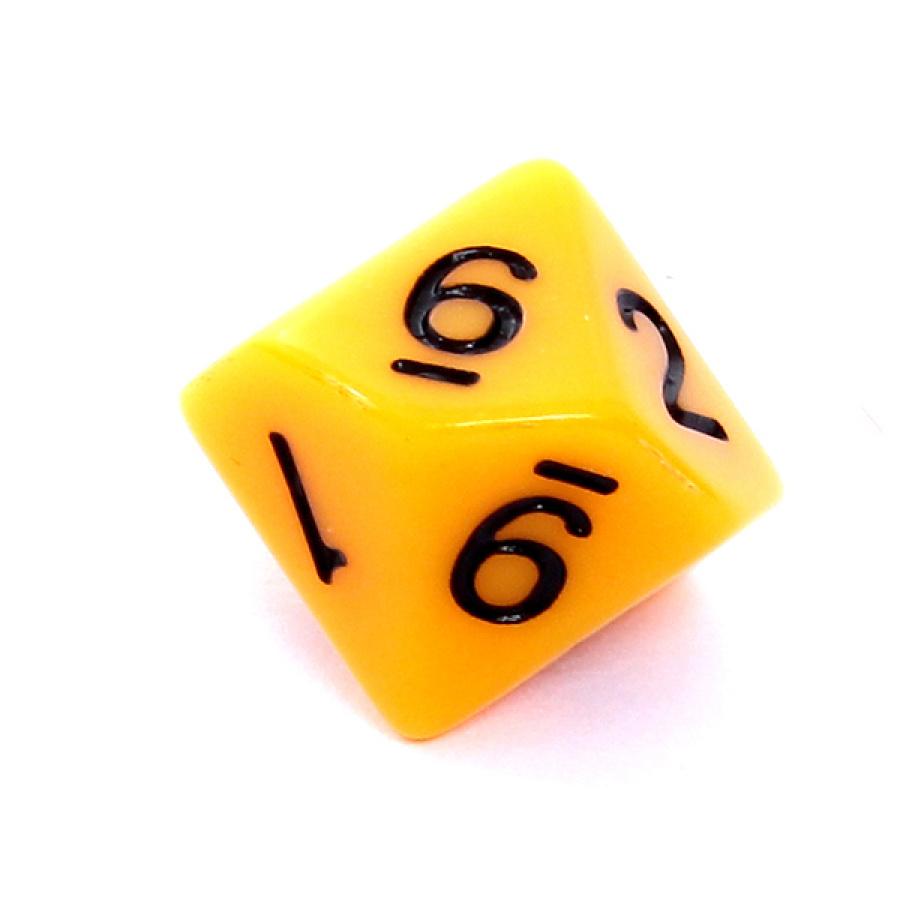 Kość REBEL matowa 10 Ścian - Cyfry - Żółta