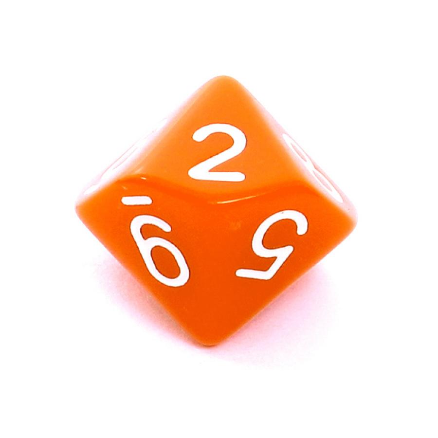 Kość REBEL matowa 10 Ścian - Cyfry - Pomarańczowa