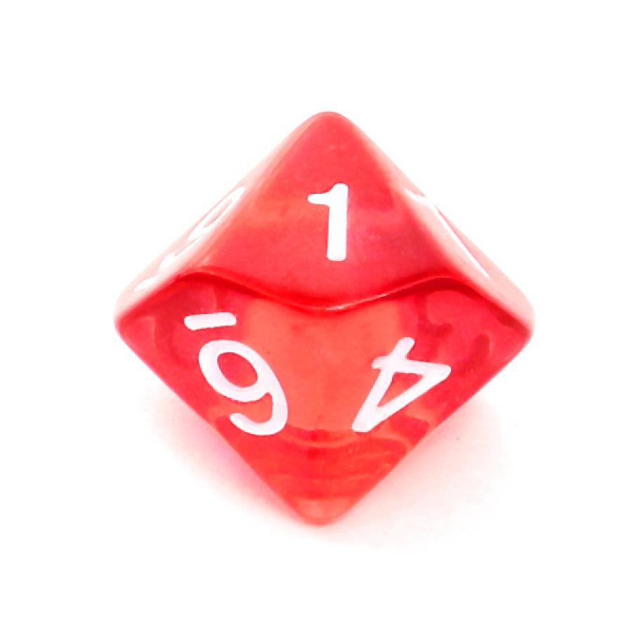 Kość REBEL kryształowa 10 Ścian - Cyfry - Czerwona