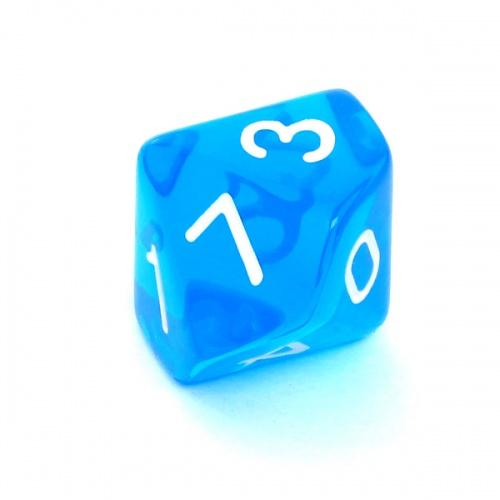 Kość REBEL kryształowa 10 Ścian - Cyfry - Niebieska