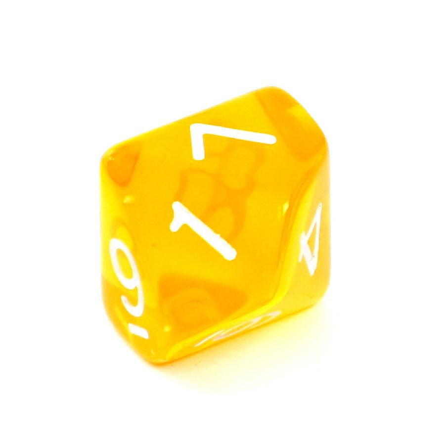Kość REBEL kryształowa 10 Ścian - Cyfry - Żółta