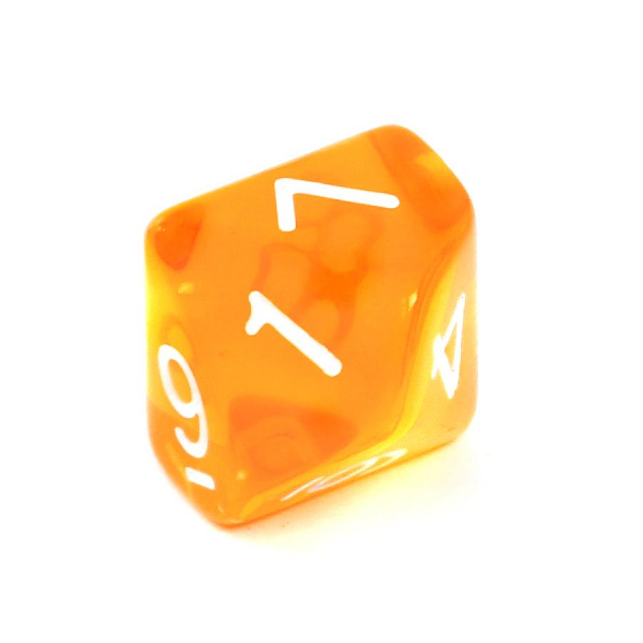 Kość REBEL kryształowa 10 Ścian - Cyfry - Pomarańczowa