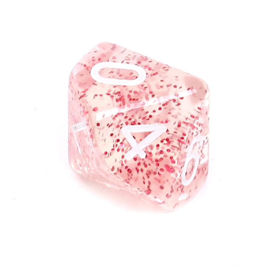 Kość REBEL brokatowa 10 Ścian - Cyfry - Czerwona