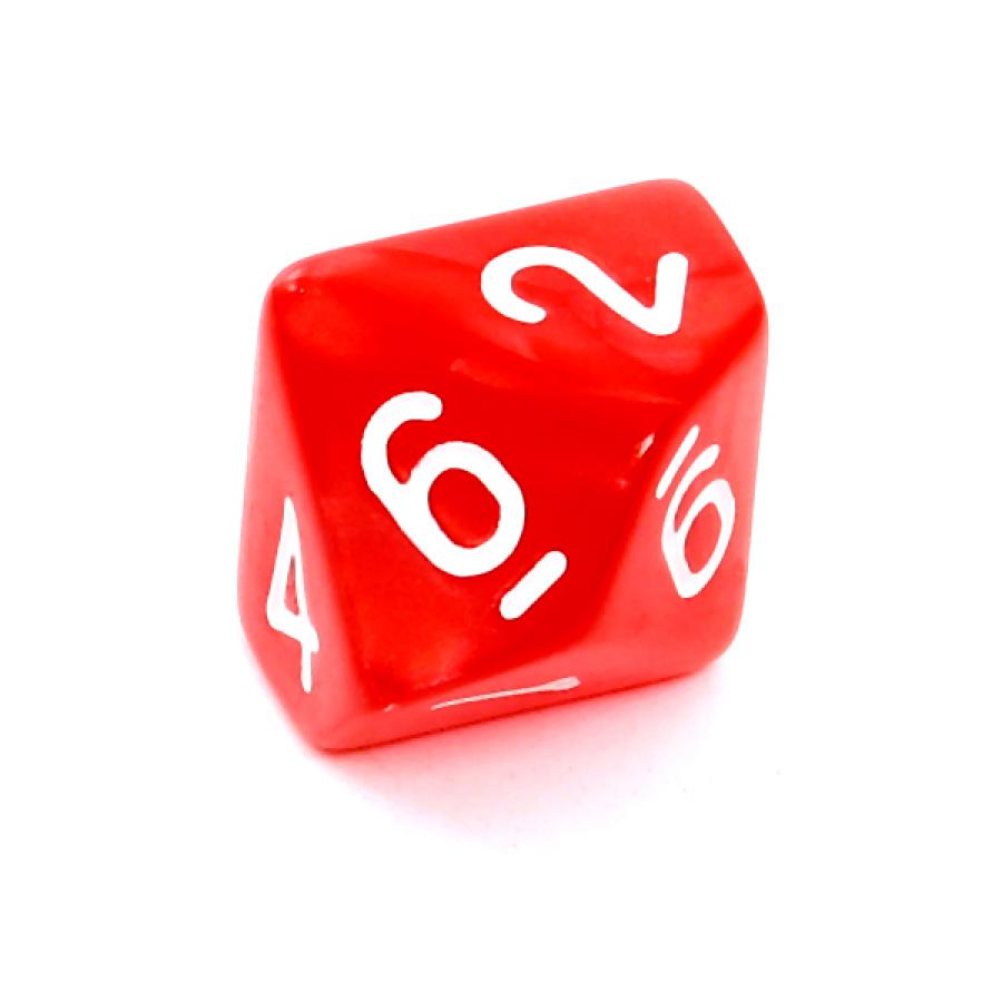 Kość REBEL perłowa 10 Ścian - Cyfry - Czerwona